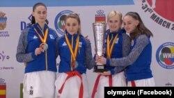 Українки завоювали командне золото на чемпіонаті Європи. На фото: Анжеліка Терлюга, Галина Мельник, Аніта Серьогіна, Діана Шостак