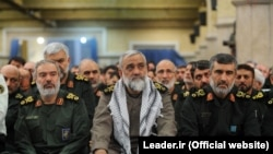 FILE - Top IRGC commanders (L-R): Ali Fadavi, Mohammadreza Naghdi, and Amirali Hajizadeh in a meeting of IRGC commander with Iran's Supreme Leader Ali Khamenei, undated.