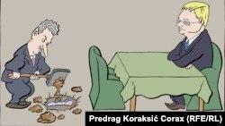 Predrag Koraksiç Koraksyň çeken karikaturasy