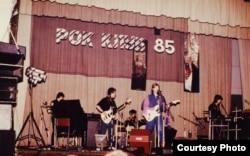 Akvarium in concert at the Leningrad Rock Club in 1985