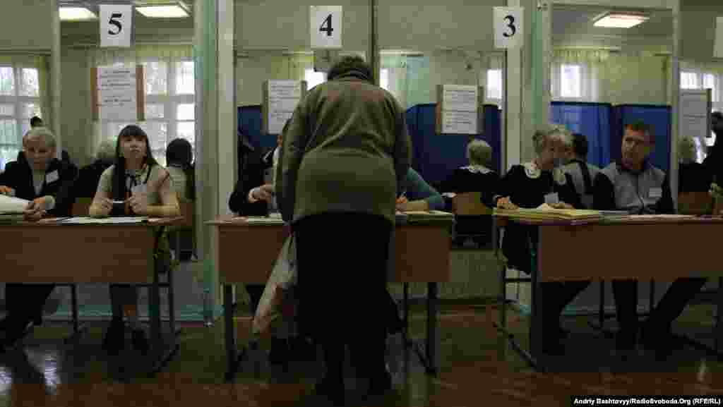 A polling station in Kyiv.