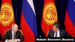 Орус президенти Владимир Путин Кыргызстанга иш сапары менен келген учур. 28-март, 2019-жыл.