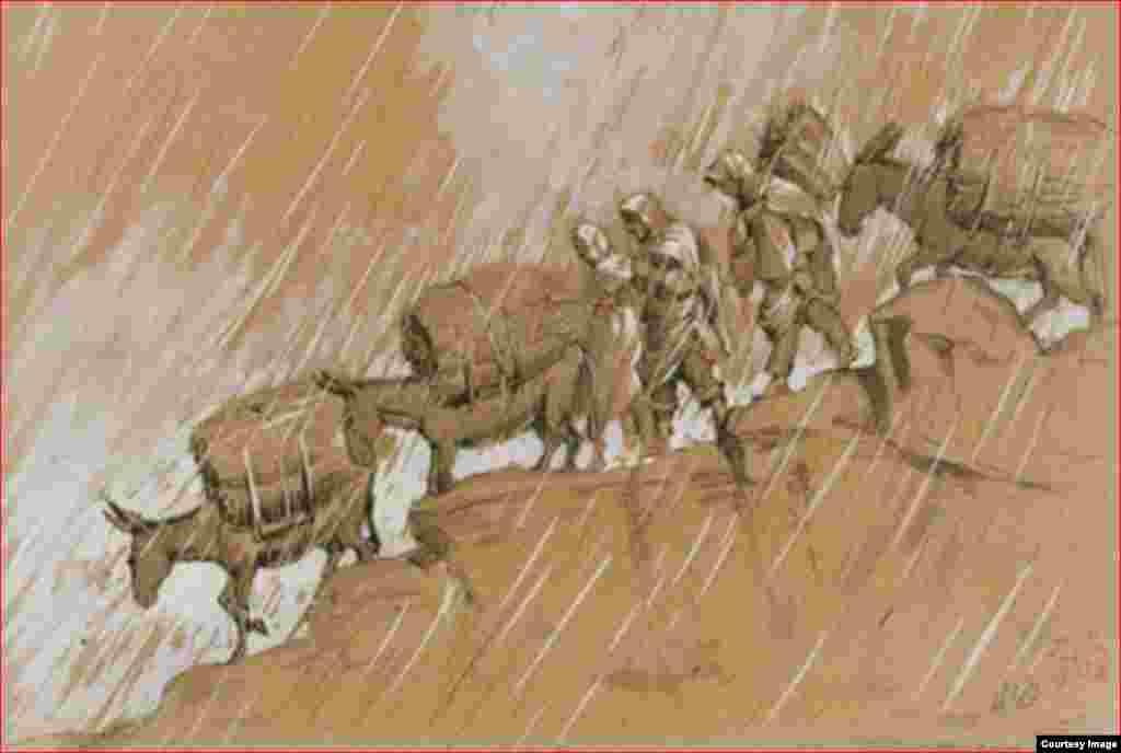 Шлепнев В.С. Караван под дождем. Северный Кавказ. 1920-е.