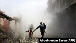 Эпизод бомбардировки силами Асада кварталов в пригороде Дамаска, 8 февраля 2018