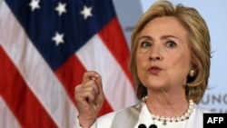 U.S. presidential hopeful Hillary Clinton delivers a national security address on her strategy for defeating the Islamic State group in the wake of the Paris attacks at the Council on Foreign Relations in New York on November 19.