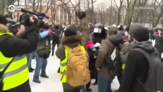 Scuffles And Snowballs As Protesters Come Out For Navalny In St. Petersburg