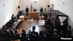 Armenia - The trial of Valery Permyakov, a Russian soldier accused of murdering seven members of an Armenian family, Gyumri, 18Jan2016.