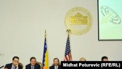 Saša Toperić, Daniel Hamilton,Patrick S. Moon, Michael Haltzel, Samir Arnautović na konferenciji za novinare povodom početka konferencije, Sarajevo, 12. jun 2011.