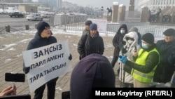 Жанболат Мамайдың билікке наразылық пикеті. Алматы, 15 қаңтар 2021 жыл.