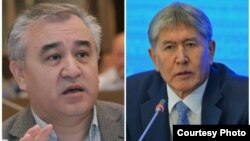 Президент Кырызстана Алмазбек Атамбаев (справа) и лидер парламентской фракции «Ата Мекен» Омурбек Текебаев.