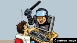 Әзербайжан суретшісі Гундуз Агаевтың интернет еркіндігі жайлы карикатурасы. (Көрнекі сурет)