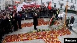 Јарослав Качински на церемонијата за одбележување на смртта на неговиот брат