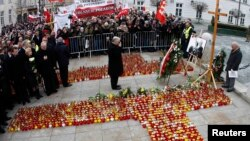 Брат загиблого Ярослав Качинський під час меморіальних заходів