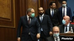 Armenia -- Prime Minister Nikol Pashinian arrives for his government's question-and-answer session in the parliament, January 20, 2021.