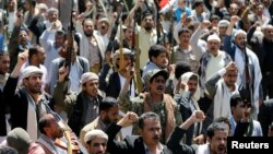 A demonstration in Sanaa against Saudi-led air strikes on a funeral on October 8 that killed 140 people
