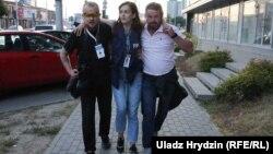 Параненая на фота — журналістка Нашай Нівы Натальля Лубнеўская
