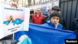 Орусиянын Крымды басып алуусун айыптаган митинг. Казакстан. 3-март, 2014-жыл