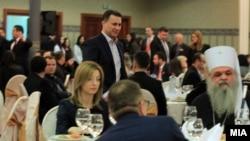 """Премиерот Никола Груевски на донаторска конференција за изградба на црквата """"Св. Константин и Елена""""."""