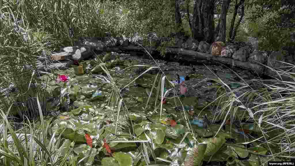 У саду багато невеликих, зарослих лататтям ставків, що наповнюються поточними струмочкамиз гір