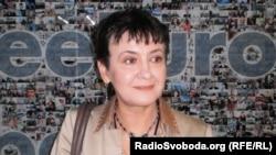 Оксана Забужко в офісі Радіо Свобода у Празі