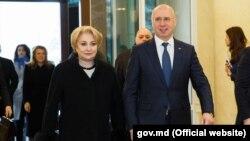 Viorica Dăncilă și Pavel Filip, Chișinău, 27 februarie 2018