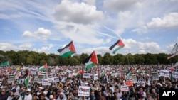 Пропалестинский митинг в центре Лондона, 9 августа 2014