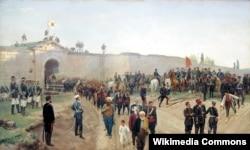 Сдача крепости Никополь 4 июля 1877 года, картина Николая Дмитриева-Оренбургского (1883)