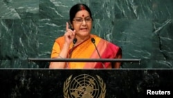 FILE: Indian Foreign Minister Sushma Swaraj