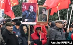 Many supporters of Russia's Communist Party openly support Soviet dictator Josef Stalin.