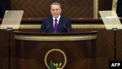 Kazakh President Nursultan Nazarbaev during his annual state of the nation address to parliament in Astana on January 27.