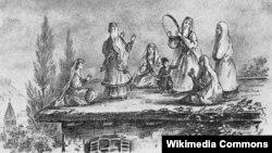 Ləzginka. Mixail Lermontovun çəkdiyi rəsm, 1837