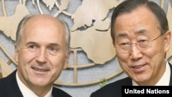 UN Secretary-General Ban Ki-moon (right) meets with Valentin Inzko, high representative to Bosnia, at UN headquarters in New York on May 24