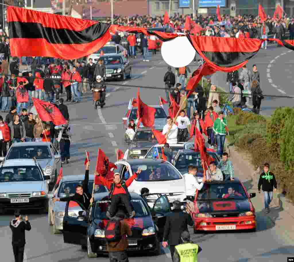 Members of the Albanian minority in Macedonia celebrate Albanian Independence Day in Skopje.