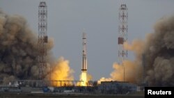 The Proton-M rocket, carrying the ExoMars 2016 spacecraft to Mars, blasts off from the launchpad at the Baikonur Cosmodrome in March.