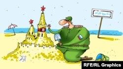 Одна из многочисленных карикатур по поводу присутствия россиян на пляжах Крыма