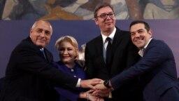 SERBIA -- Serbian President Aleksandar Vucic, second right, poses with Romanian Prime Minister Viorica Dancila, second left, Bulgarian Prime Minister Boyko Borisov, left, and Greece's Prime Minister Alexis Tsipras after talks in Belgrade, Serbia, Saturday