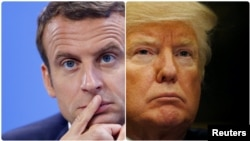 Combo Photo of Emmanuel Macron, President of France and Donald Trump, President of United States