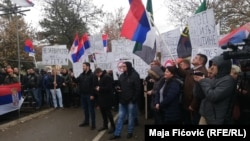 In North Mitrovica, local ethnic Serbs protest against the tax imposed on imports from Serbia on November 28.