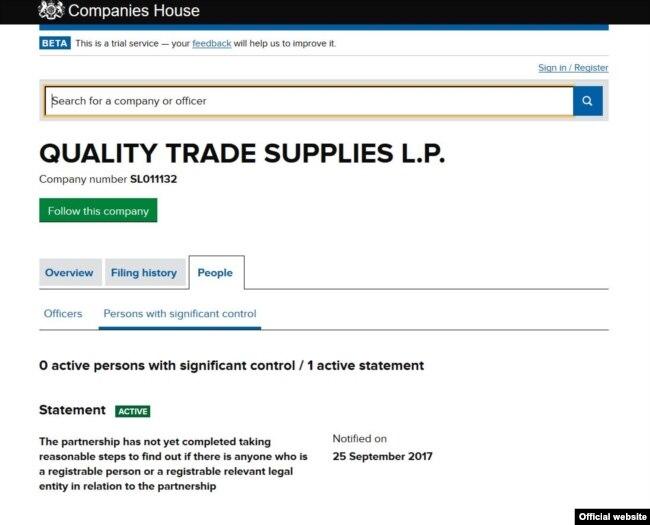 Quality Trade Supplies L.P. ўз эгаси кимлигини очиқлаш ҳақидаги Британия янги қонунига ҳозирча амал қилмаган.