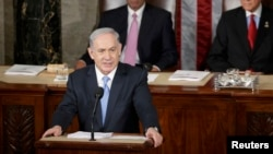 Israeli Prime Minister Benjamin Netanyahu addresses a joint meeting of Congress in Washington on March 3.