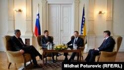 Borut Pahor sa članovima Predsjedništva BiH