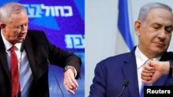Benny Gantz (solda) və Benjamin Netanyahu