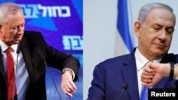 بنیامین نتانیاهو (راست) و بنی گاتس