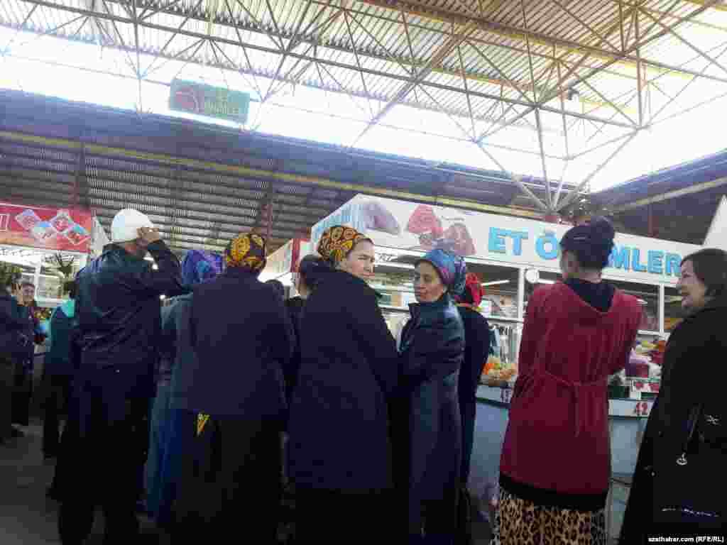 Turkmenistan. Customers in front of butcher shops in Ashgabat.