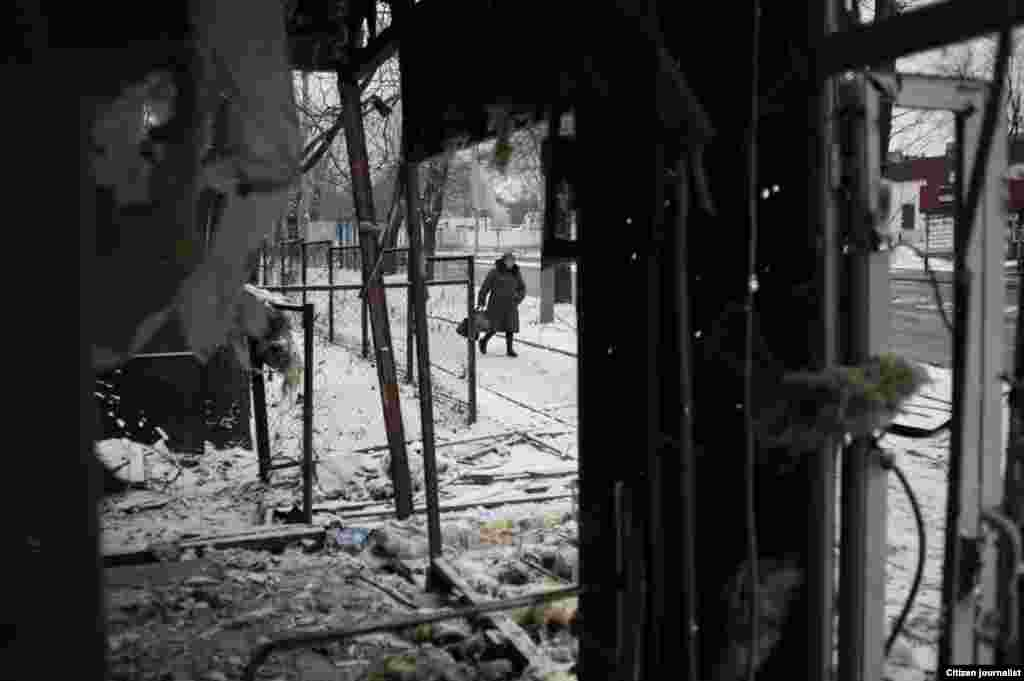 Donetsk, Ukrain. A store is destroyed by artillery shalling.
