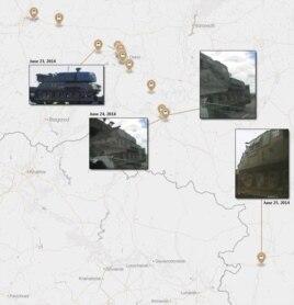 """Точки на карте России, где удалось отследить """"Бук"""", из которого предположительно был сбит """"Боинг"""""""