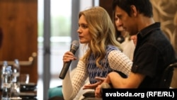 Natalia Vodianova moderates a roundtable on the topic of stigmatization in Minsk in 2018.