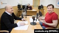 Вячаслаў Ракіцкі і Цімафей Авілін у студыі Радыё Свабода