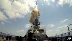 O navă de război rusă cu rachete de croazieră de tip Kalibr