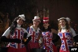 شادمانی طرفداران برگزیت در لندن، هنگام خروج رسمی بریتانیا از اتحادیه اروپا